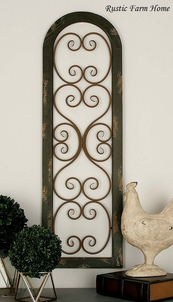 Metal wood brown wall panel distressed antique vintage for Antique wall decor