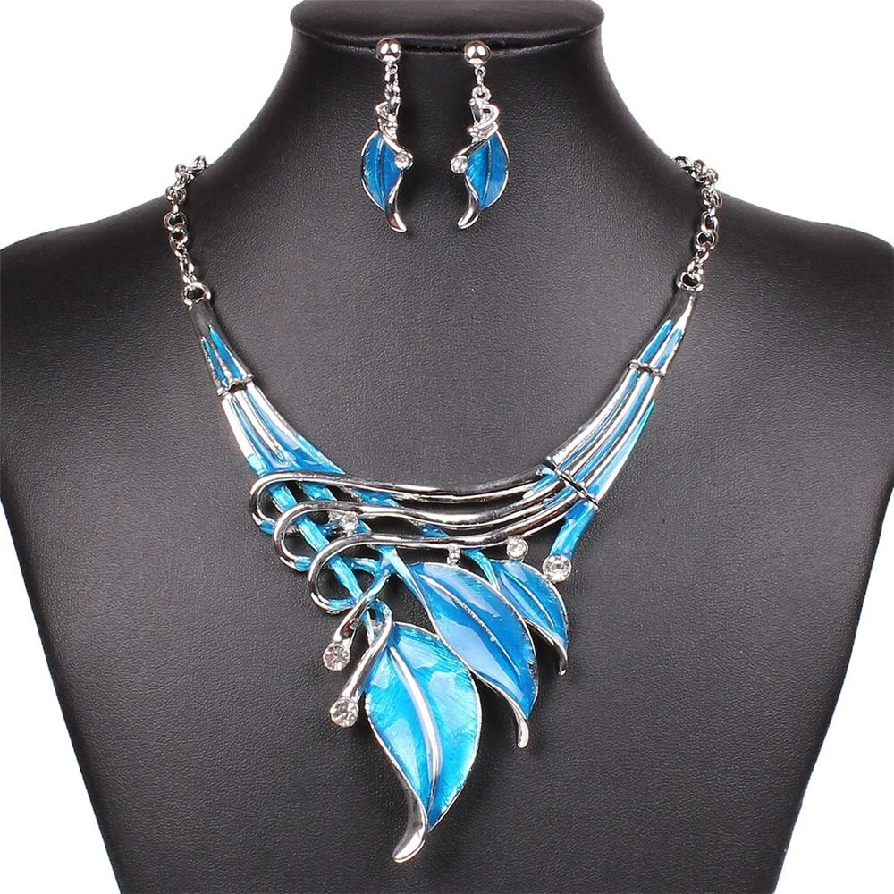 Fashion Lake Blue Leaf Lariat Y Necklace Chain Necklace