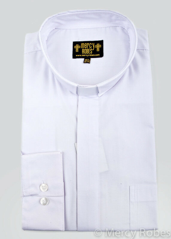 New mens standard cuff white clergy shirt tab collar for Cuff shirts for men