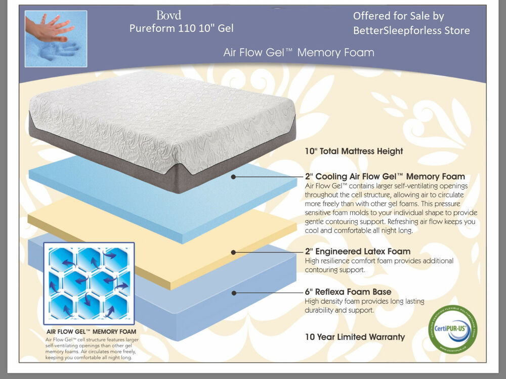 New Boyd Pure Form 110 10 Quot Visco Memory Foam Mattress W