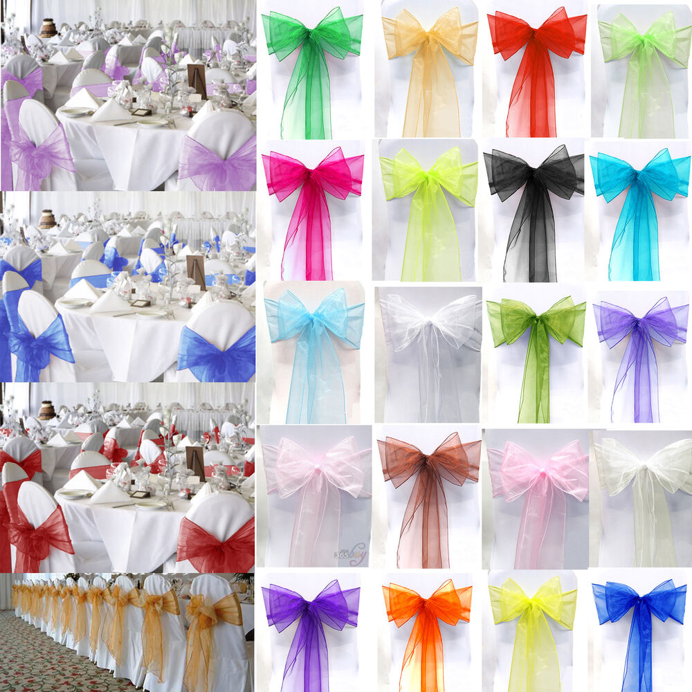 10 25 50 100 Organza Chair Sashes Bow Wedding Cover Party