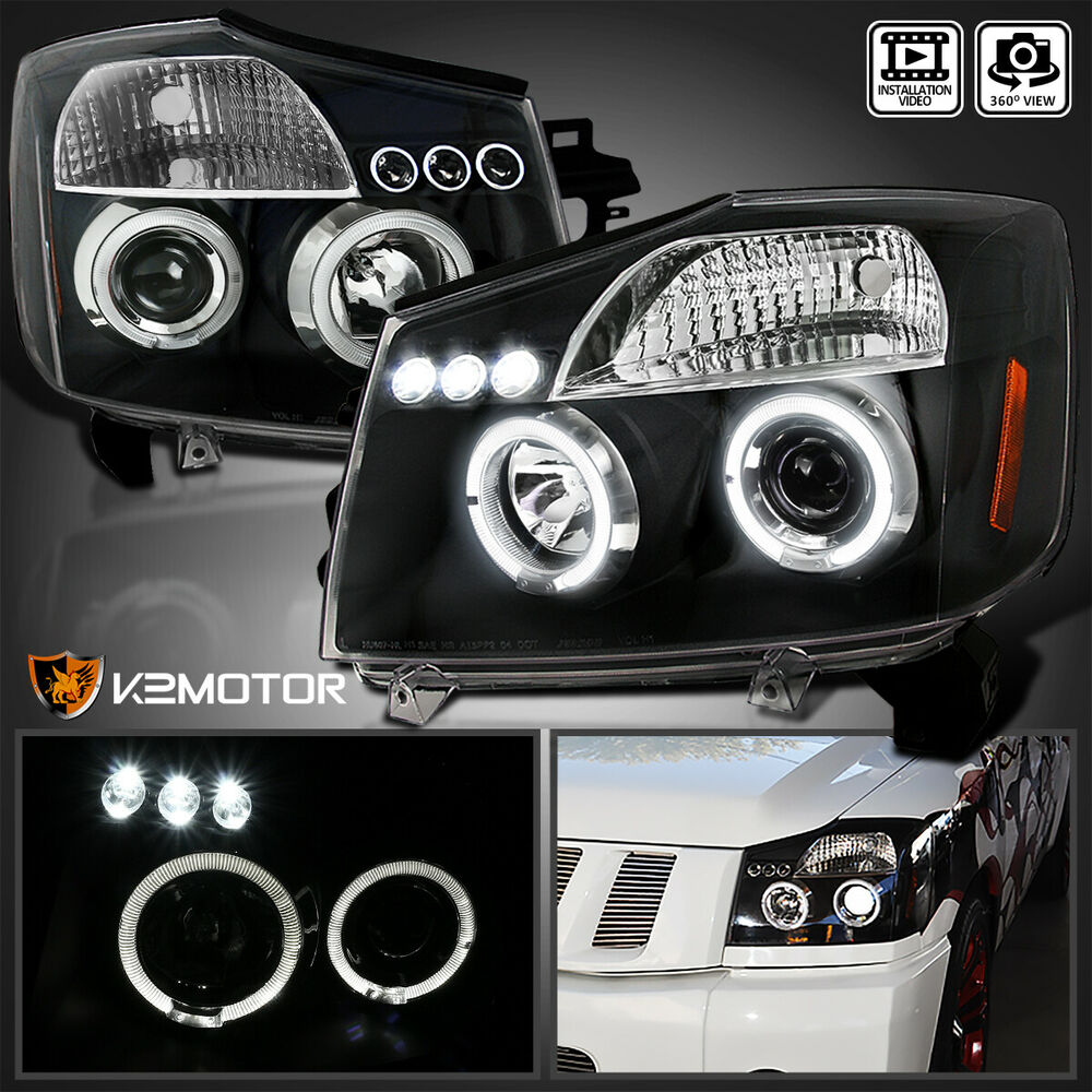 led halo projector headlights black for 2004 2015 nissan. Black Bedroom Furniture Sets. Home Design Ideas