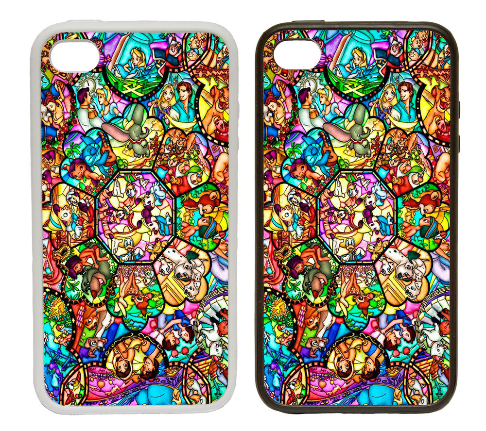 Stained Glass Style Printed Rubber and Plastic Phone Cover Case Disney ...