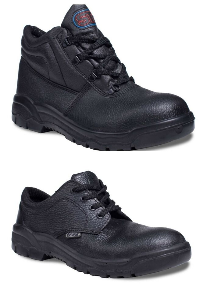 mens safety work chukka boots shoes black leather steel