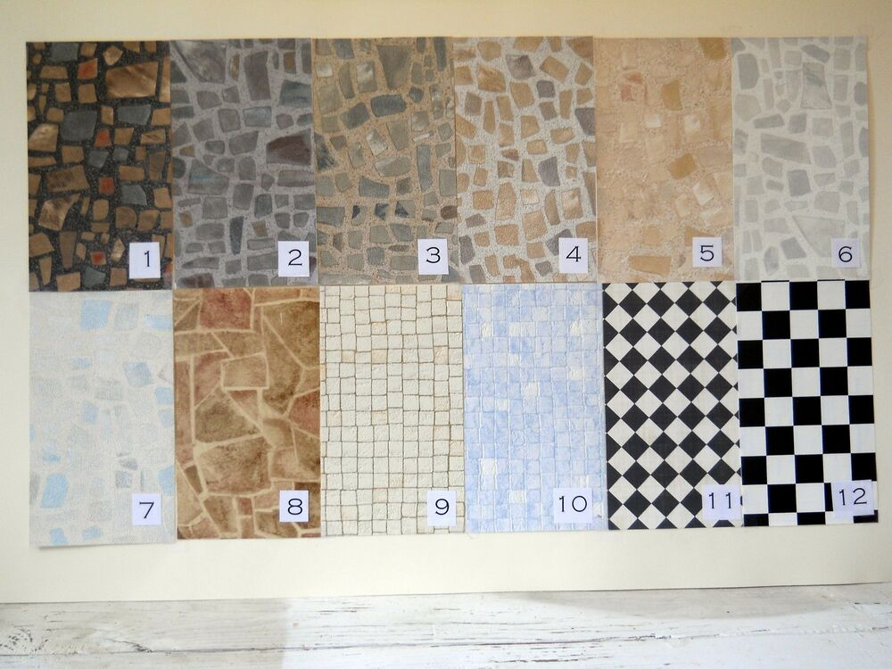 Fabulous faux stone brick tile vinyl floors for diorama for Fake tile floor