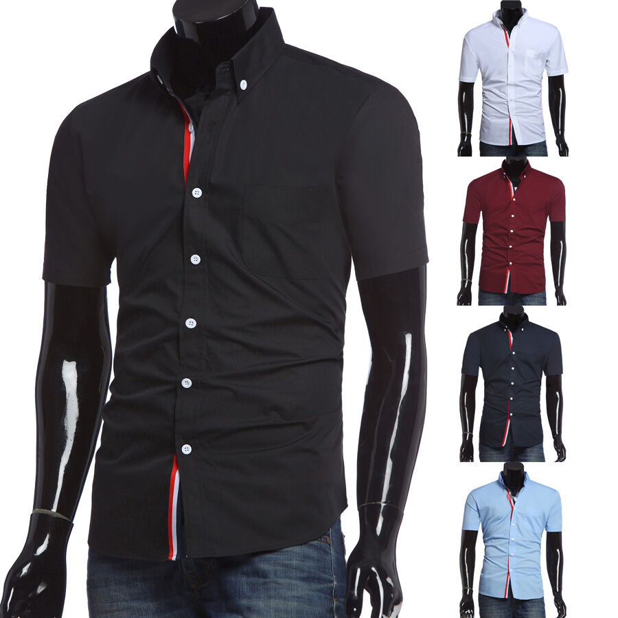 2016 fashion men slim fit short sleeve shirt casual dress. Black Bedroom Furniture Sets. Home Design Ideas
