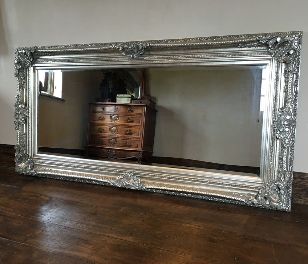 Antique silver gilt boudoir large overmantle wall french for Large silver wall mirror