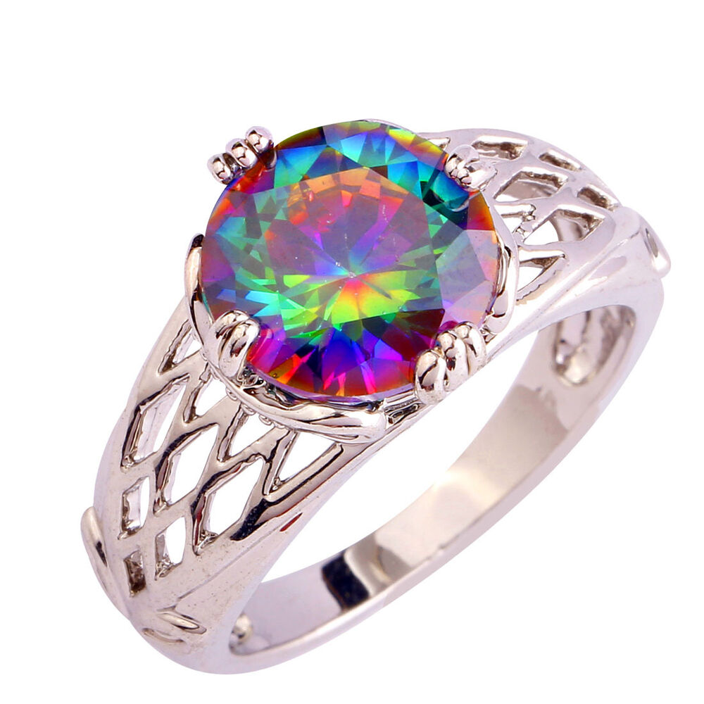 Multi Color Rainbow Topaz Gemstone Women Nice Silver Ring