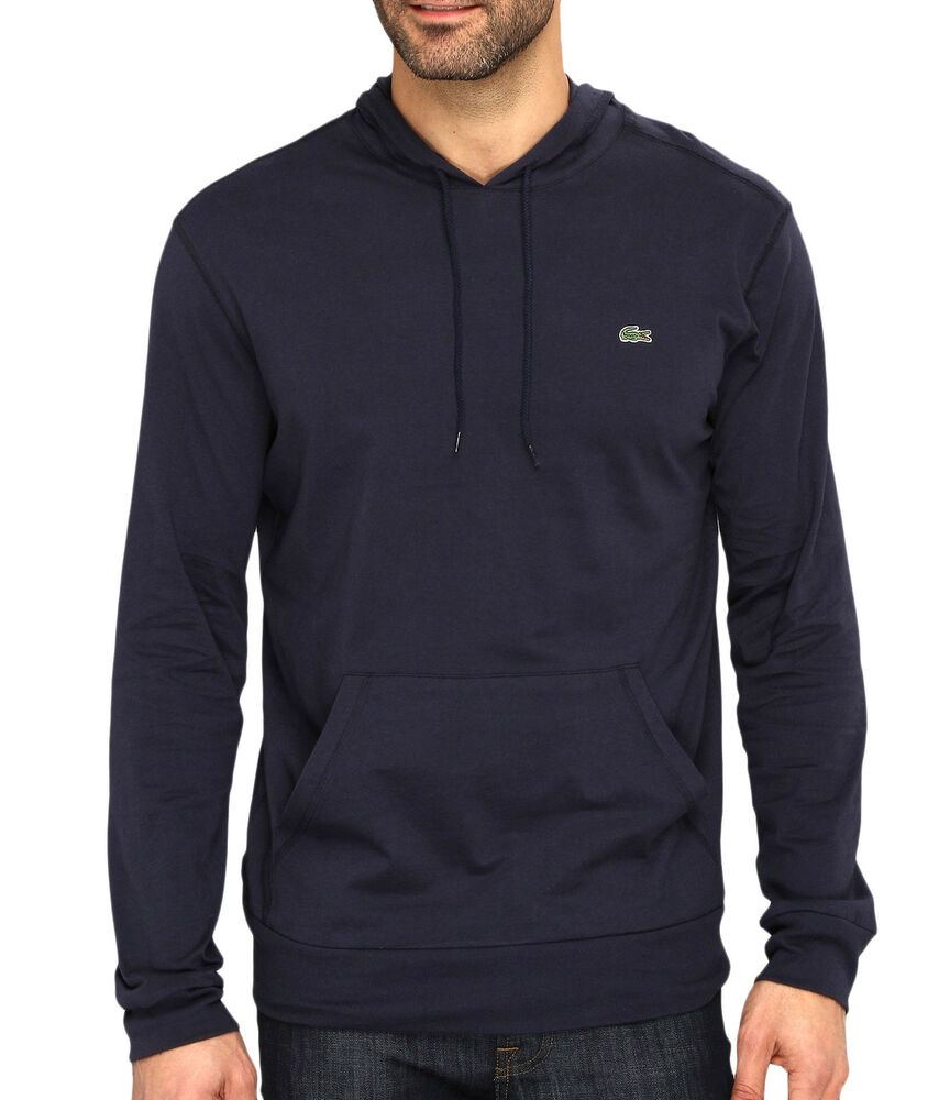 Lacoste men fashion casual lightweight jersey pullover for Sweater over shirt men