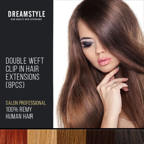 Double Wefted Clip In Remy Human Hair Extensions 38