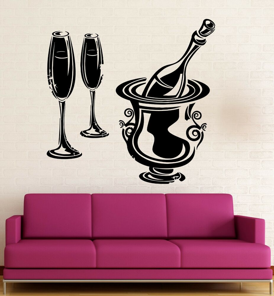Wall Stickers Vinyl Decal Restaurant Wine Champagne Drink