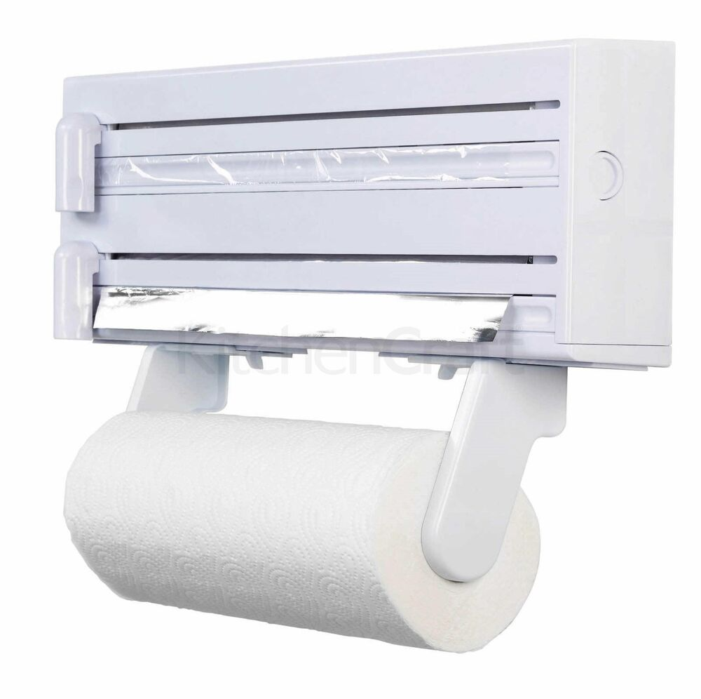 kitchen towel foil dispenser cling film roll holder cutter wall mounted plastic ebay. Black Bedroom Furniture Sets. Home Design Ideas