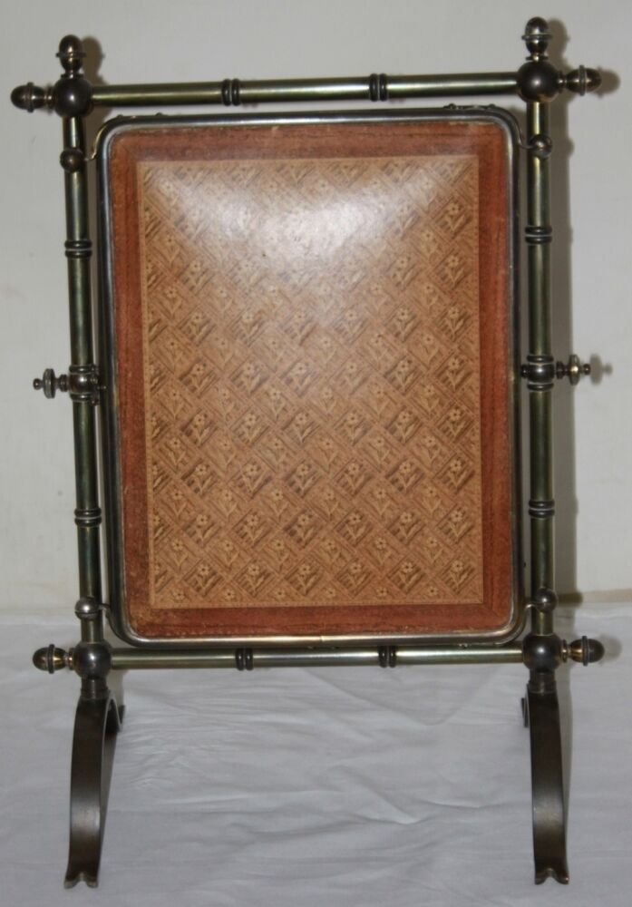 Antique solid brass folding triple screen dressing table