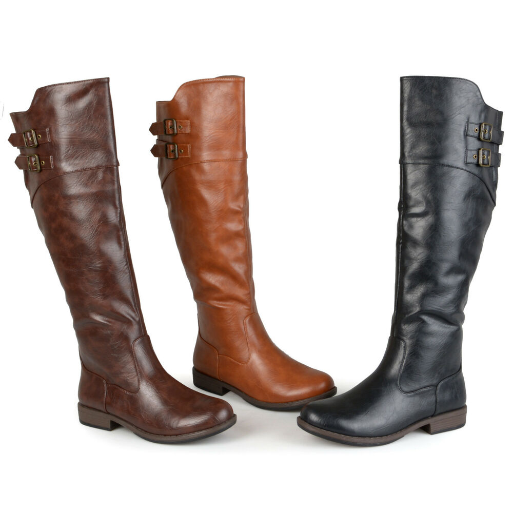 1a3a2dfe67dc Details about Journee Collection Womens Wide And Extra Wide Calf Buckle  Detail Riding Boots