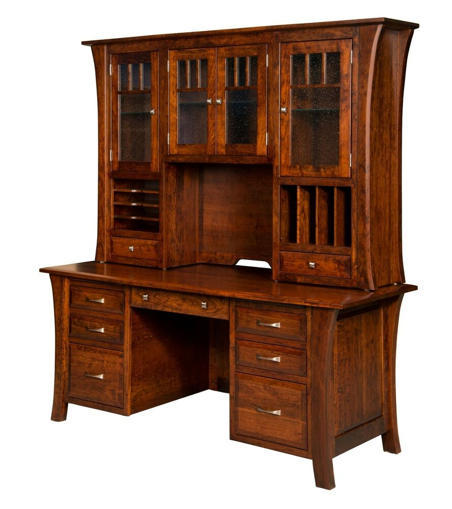 73 amish executive computer file desk hutch home office solid wood furniture ebay - Home office furniture solid wood ...