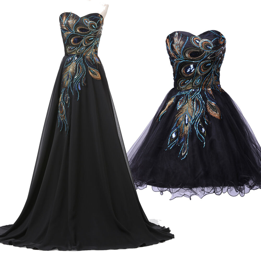 Long Short Style Peacock Masquerade Evening Wedding Gown Party Prom Dress UK6