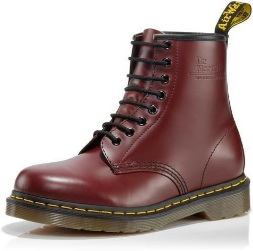 dr martens men 39 s 1460 8 eye casual lace up ankle boots cherry red smooth ebay. Black Bedroom Furniture Sets. Home Design Ideas