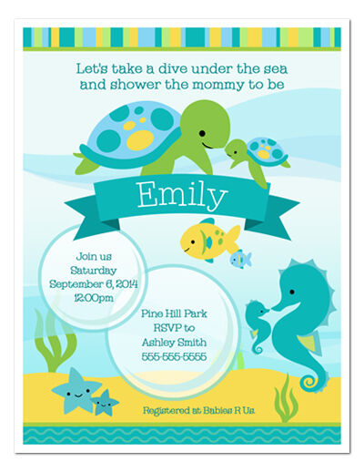 under the sea baby shower personalized invitations ebay
