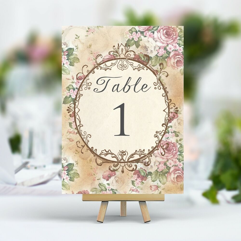 Vintage Style Wedding Table Numbers Names Cards