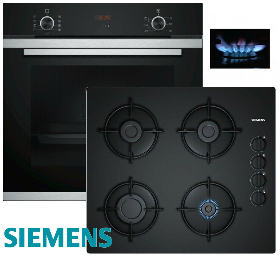 siemens gas herdset einbau autark elektro backofen gas glaskeramik kochfeld ebay. Black Bedroom Furniture Sets. Home Design Ideas