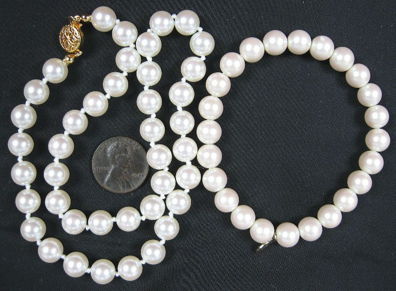 "Is Monet Jewelry Real >> Real Nice Vintage Knotted Pearl Beads Necklace 15"" & Bracelet Monet 