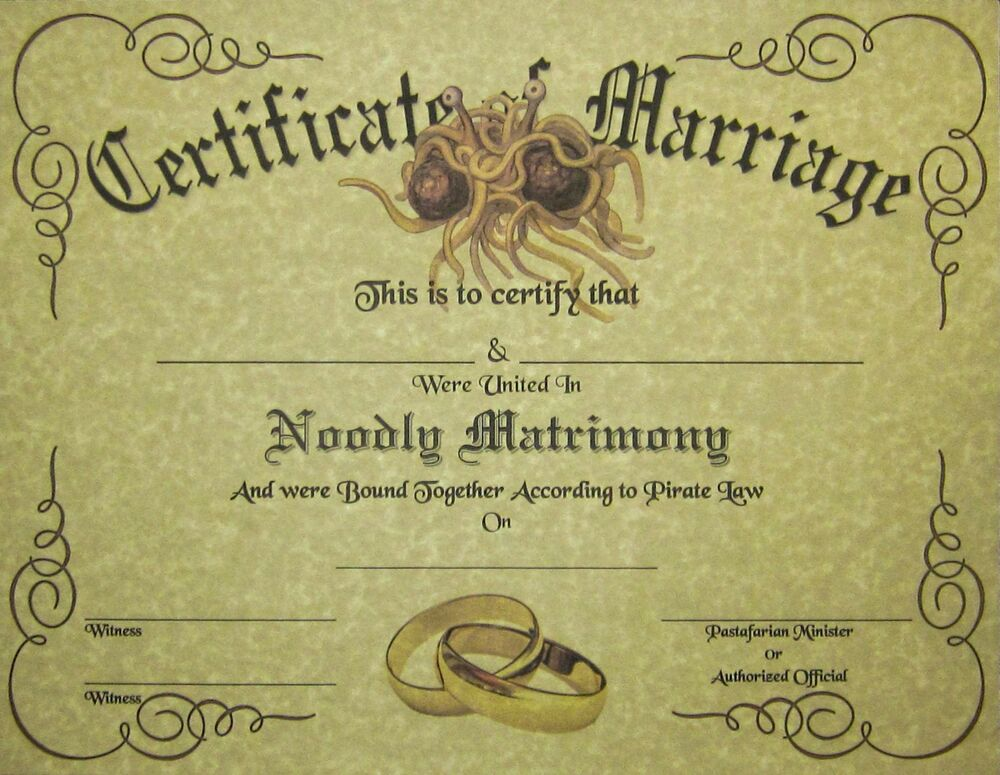 FSM Marriage Certificate Parchment: Pastafarian Flying ...