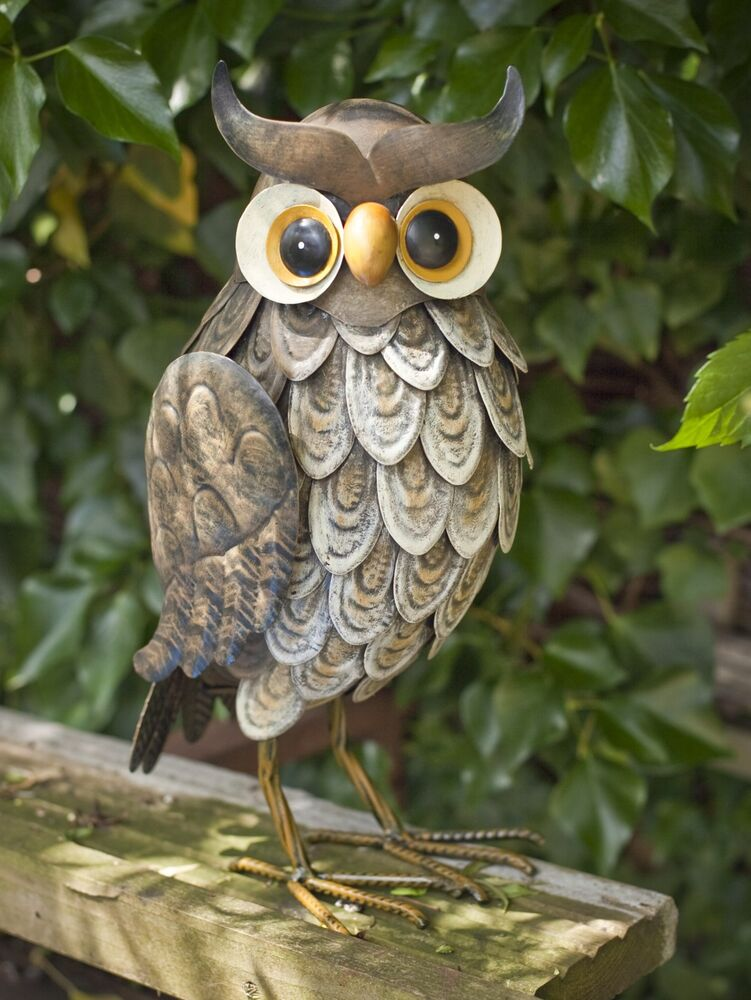 Garden animal sculpture ornament metal wise owl ebay for Decorative lawn ornaments