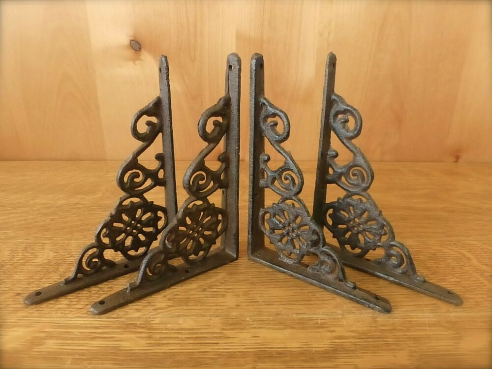 "4 BROWN ANTIQUE-STYLE 6.5"" SHELF BRACKETS CAST IRON Rustic"