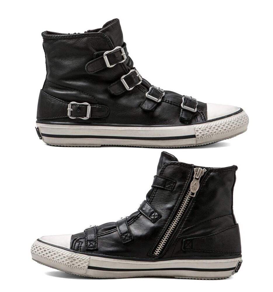 334baab4a6ab Details about NEW ASH Virgin Black Leather Women s Fashion High Top buckle  Sneaker Shoes Kicks