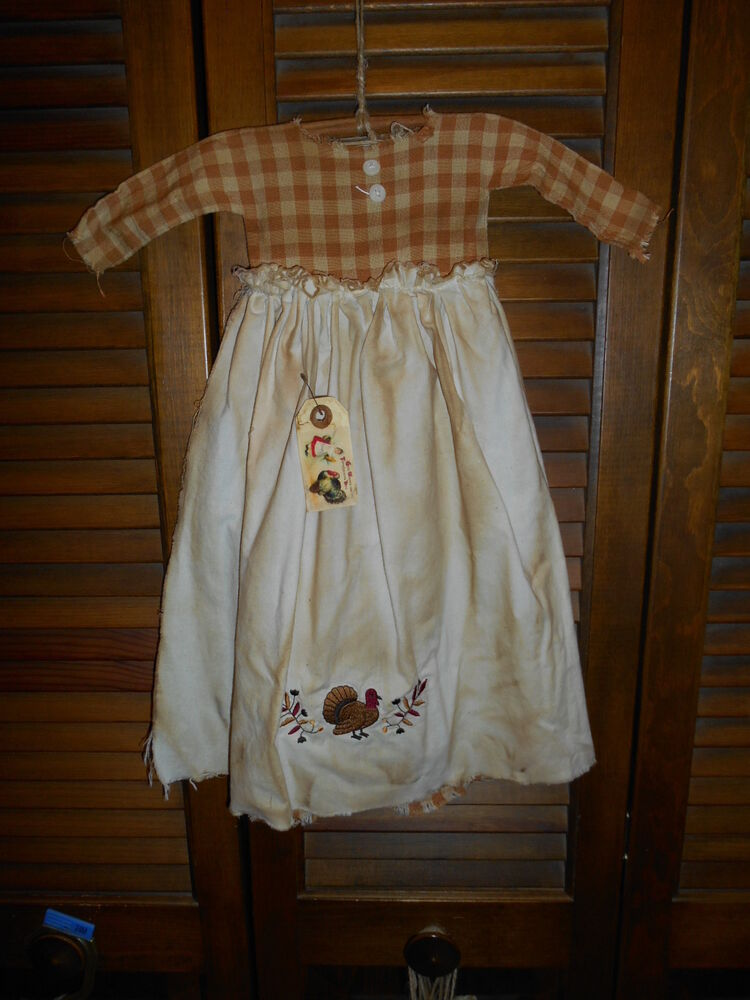 Primitive wall decor dress plaid w apron turkey thanksgiving autumn fall grungy ebay - Decoratie dressing ...