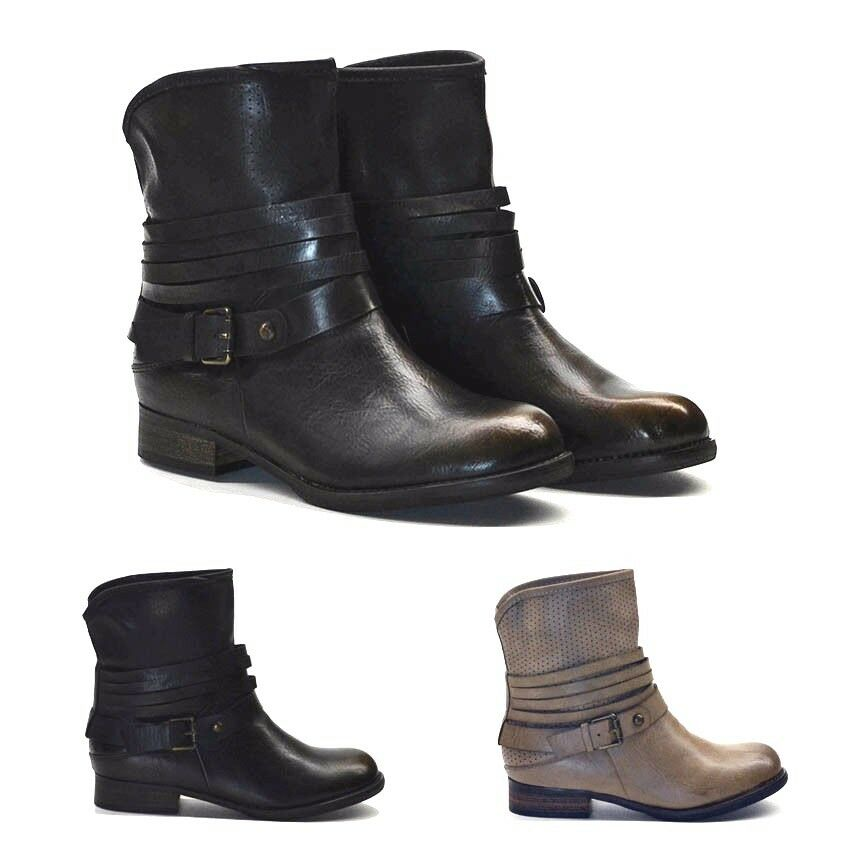 new womens ladies ankle boots biker boot aged look black. Black Bedroom Furniture Sets. Home Design Ideas