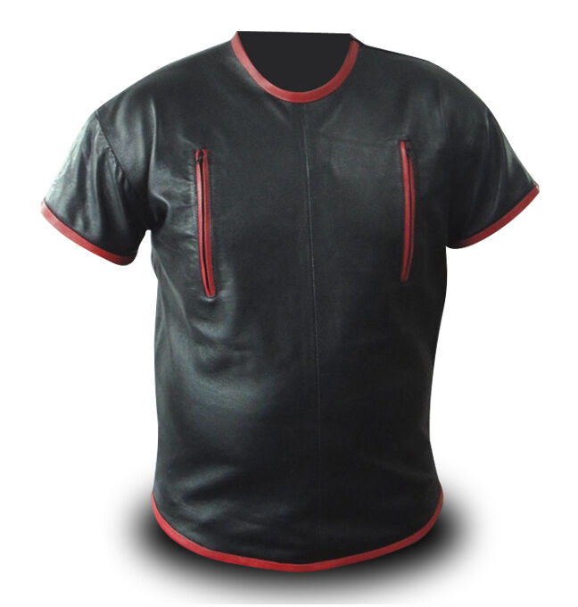 Mens red black leather zipper shirt lll 251 brand new for Mens shirts with leather