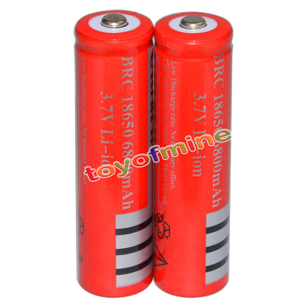 2pcs 18650 li ion 3 7v 6800mah color red rechargeable battery ebay. Black Bedroom Furniture Sets. Home Design Ideas