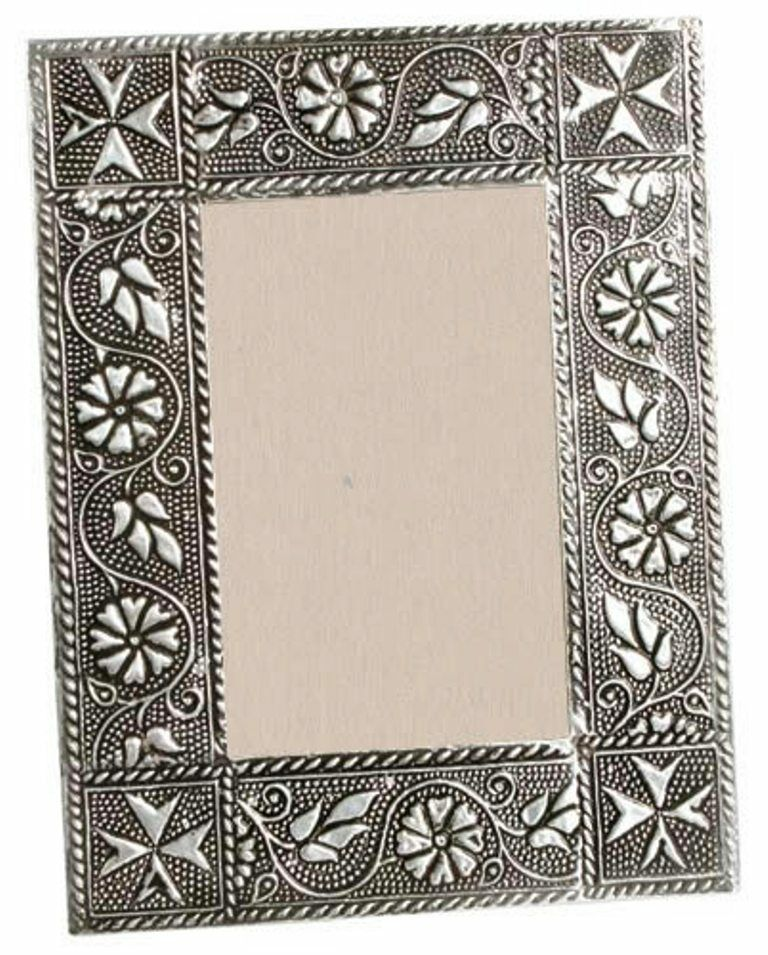 Handmade Metal Picture Photo Frame With Embossed Floral