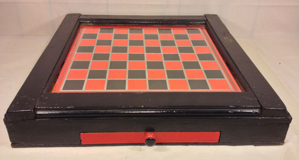 Wooden checker board wooden checkerboard in - Vintage Checkerboard In Antique Wood Case In Drawer Glass