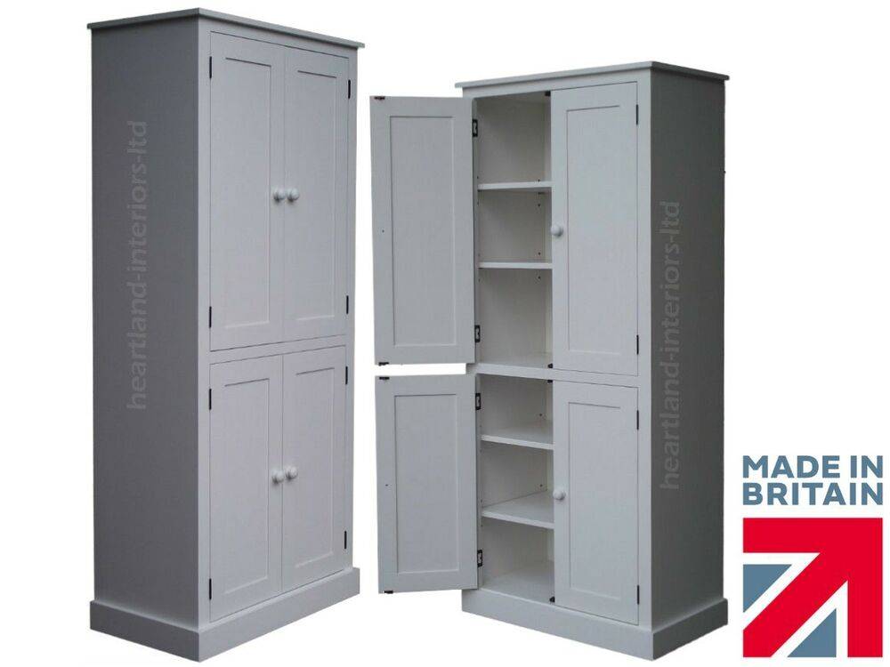 Solid Wood Cupboard White Painted Pantry Larder Linen Kitchen Storage Cabinet Ebay