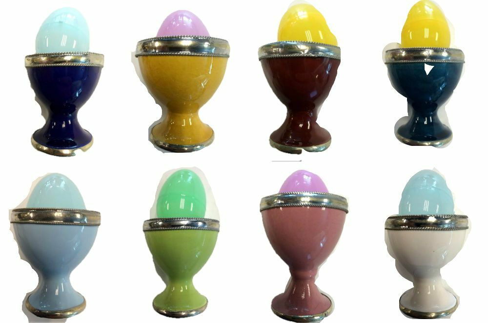 Egg Cups In Glazed Terracotta Silver Trim Assorted Colors