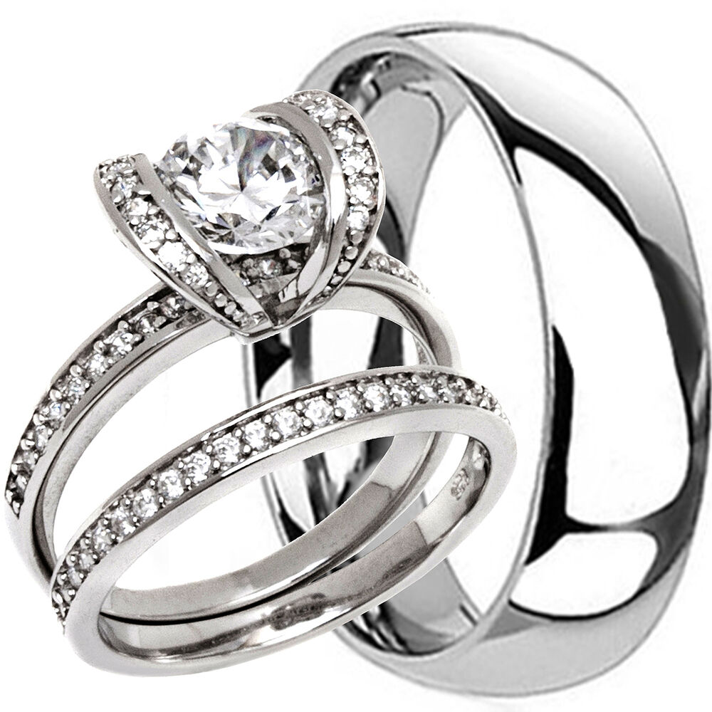 wedding ring sets for women 2 pc his hers titanium mens 6mm and womens milgrain 9995