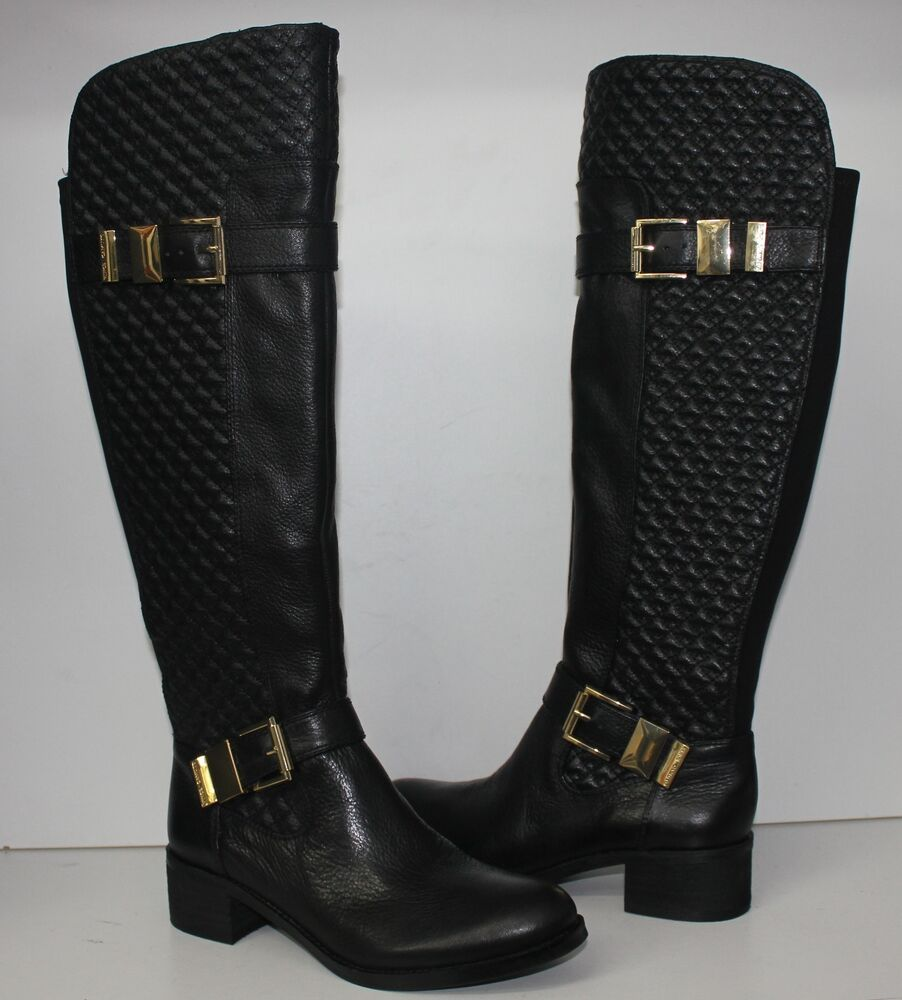 vince camuto faris black leather quilted knee high