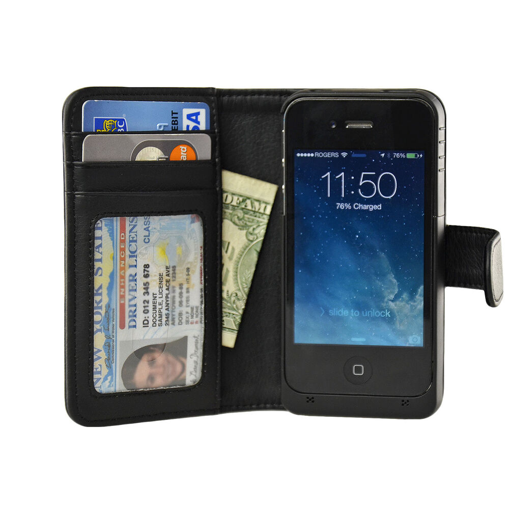 wallet iphone case navor iphone 4 4s battery powered wallet leather 1572