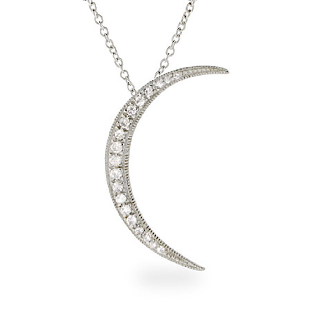 sterling silver waning crescent cz moon pendant ebay