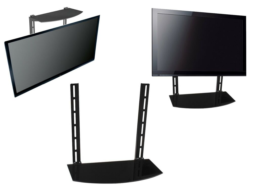 glass shelf above below under tv wall mount bracket. Black Bedroom Furniture Sets. Home Design Ideas