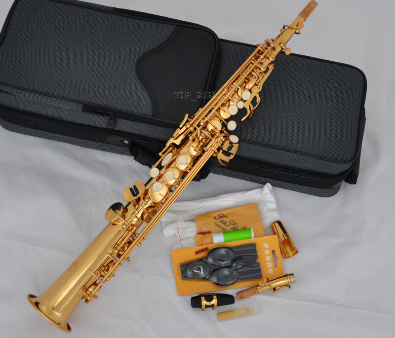 professional taishan gold straight soprano saxophone new bb sax high f with case ebay. Black Bedroom Furniture Sets. Home Design Ideas