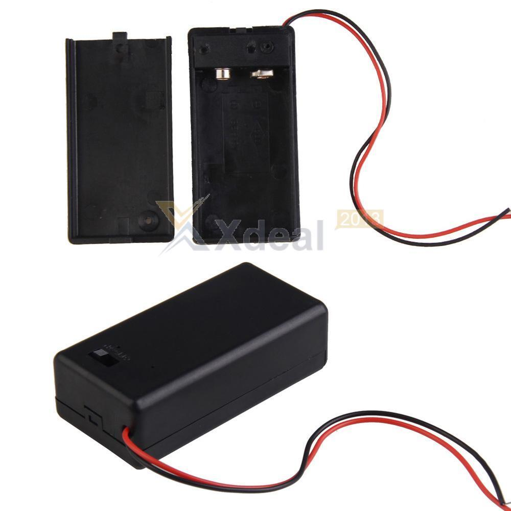 xd 9v battery holder with on off switch 9 volt box pack power toggle w 6 leads ebay. Black Bedroom Furniture Sets. Home Design Ideas