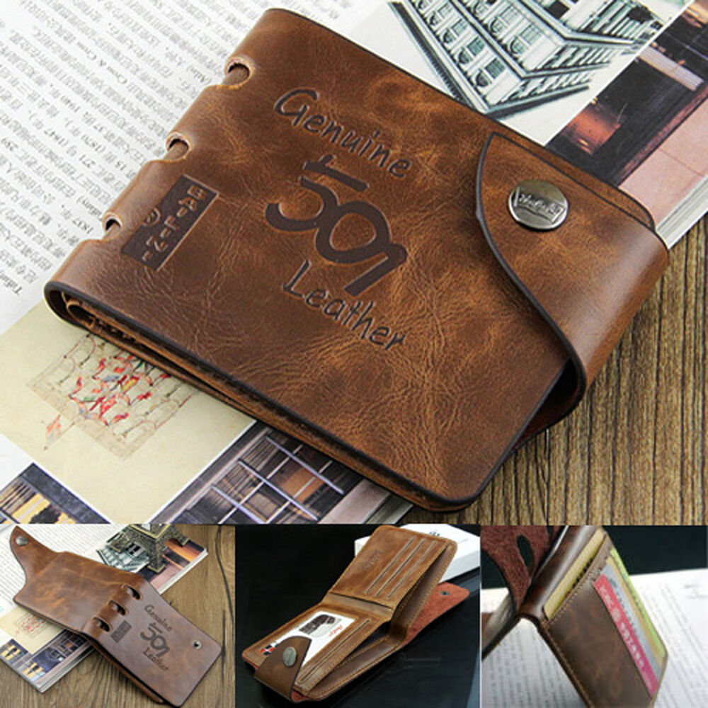 Fashion Mens Genuine Leather Bifold Wallet Credit/ID Card ...