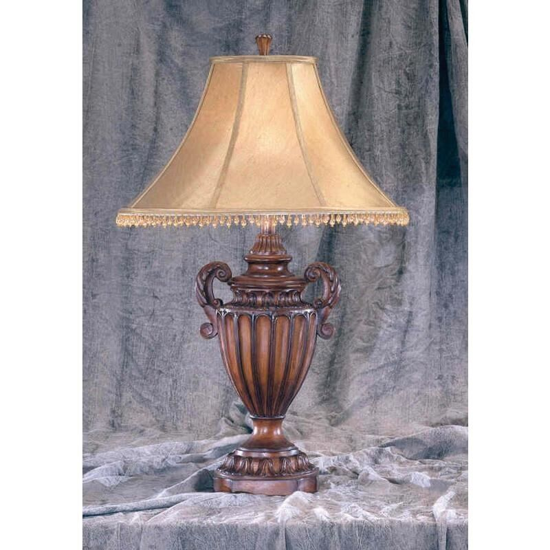 Brown carved urn style tassel table lamps lamp with beaded for Brown table lamp shades