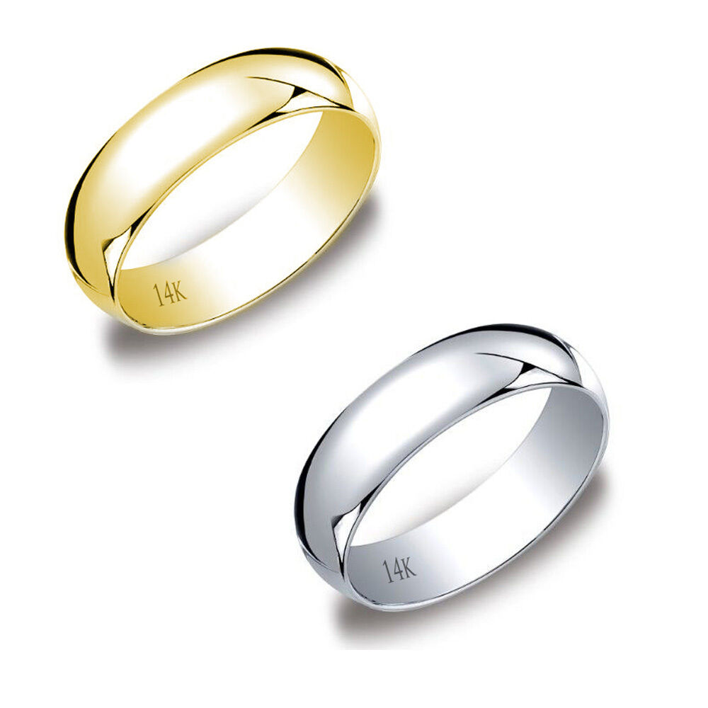14K Yellow Amp White Gold Mens Women Plain Wedding Band Comfort Fit 6MM SIZE 4 13