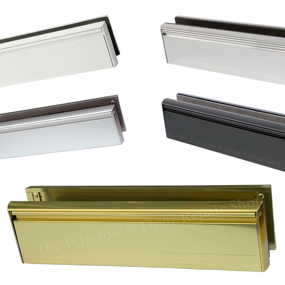 12 inch aluminium letter box letter plate set upvc wood for Upvc french doors with letterbox