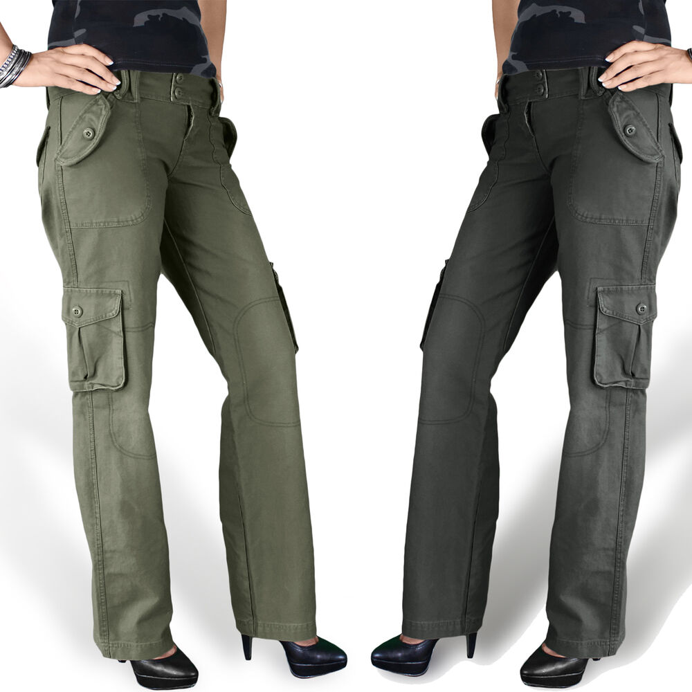 Amazing Fashion Women Military Army Green Cargo Pocket Pants Leisure Trousers