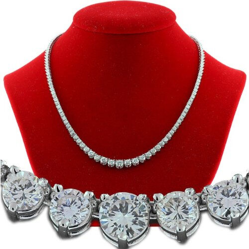 31899b7390413a Details about 11.06 ct Round Diamond Tennis Necklace Graduated 14k White  Gold 16